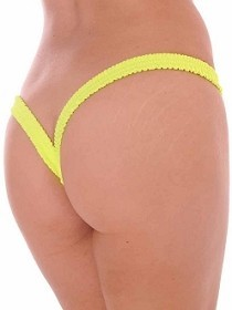 Yellow Butterfly Thick Band Side Scrunch V Back Thong