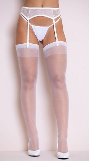 White Sheer Thigh High Stocking with Back Seam