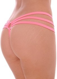 Coral Strappy Triple Band Thong with Ring Back