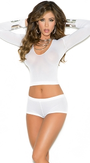 White Opaque Long Sleeve Cami Top and Booty Shorts with Ruched Back