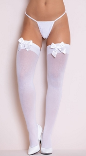 White Opaque Thigh High with Satin Bow