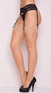 Nude Sheer Lace Top Thigh Highs