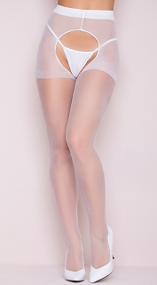 White Sheer Crotchless Pantyhose