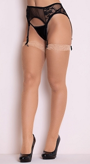 Nude Fishnet Stocking with Lace Top