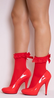 Red Nylon Anklet with Ruffle and Satin Bow
