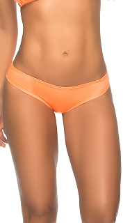 Orange Wet Look Regular Scrunch Butt Booty Shorts