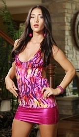 Fuchsia Trippin Zebra Dress with Thong