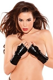 Kitten Naughty Wet Look Black Arm Guard Gloves