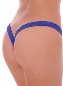 Royal Blue Butterfly Thick Band Side Scrunch V Back Thong