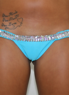 Turquoise Butterfly Thick Band Thong with Sequin Trim