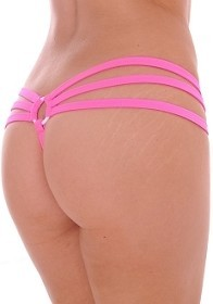 Hot Pink Strappy Triple Band Thong with Ring Back