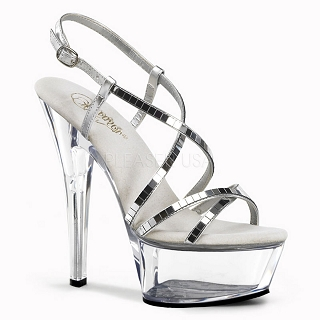 6 Inch Clear Spike Heel Platform Shoe with Mirror Straps