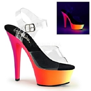 Neon Glow in Black Light 6 Inch High Heel Shoe with Ankle Strap