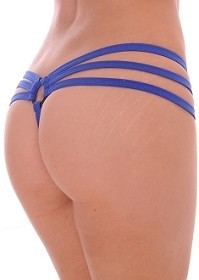 Royal Blue Strappy Triple Band Thong with Ring Back