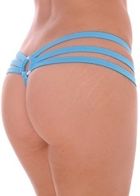 Turquoise Strappy Triple Band Thong with Ring Back