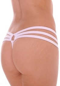 White Strappy Triple Band Thong with Ring Back