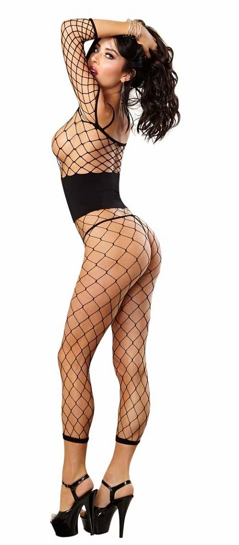 Black Fence Net Bodystocking With Corset Off Shoulder Ankle Length