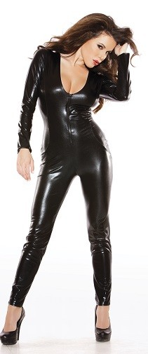 Kitten Black Wet Look Catsuit