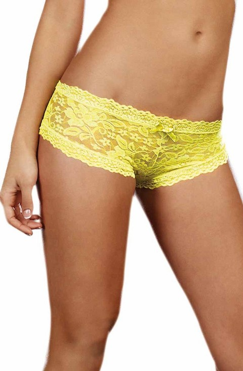 Lime Yellow Stretch Lace Low Rise Cheeky Hip Hugger Panty with Scalloped Lace and Satin Bow Trim