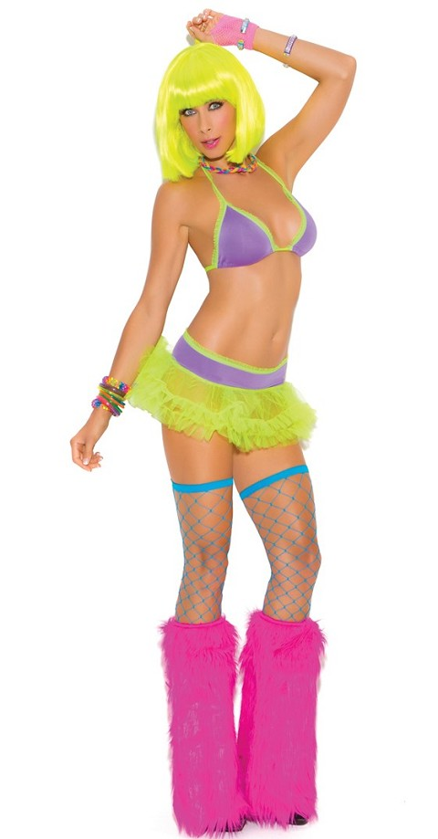 Neon Colored Halter String Bra with Tutu Skirt