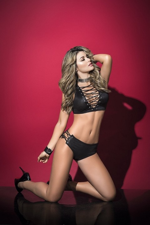Black Lace Up Halter Top with Side Lace Boy Short Panty
