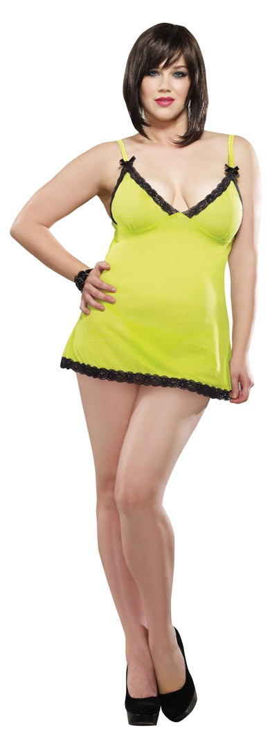Lime Mesh Spandex Chemise with Lace Trim and Thong