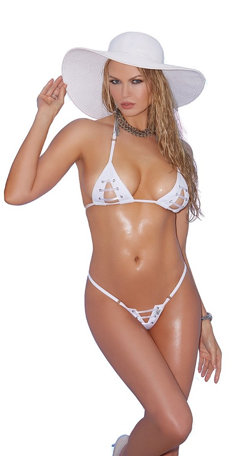 White Open Cup Lace Up G-String Bikini