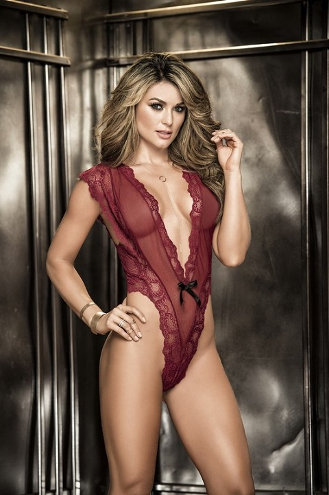 Burgundy Lace Teddy with Plunging Neckline and Thong Back