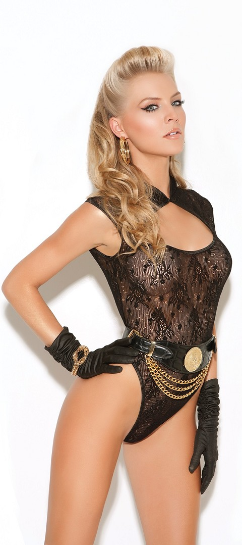 Black Open Chest Black Lace Teddy