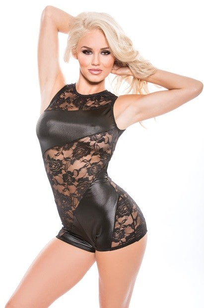 Black Lace and Wet Look Cut Out Back Jumper with Back Zipper