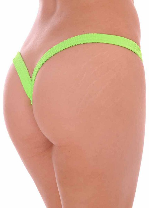 Lime Butterfly Thick Band Side Scrunch V Back Thong