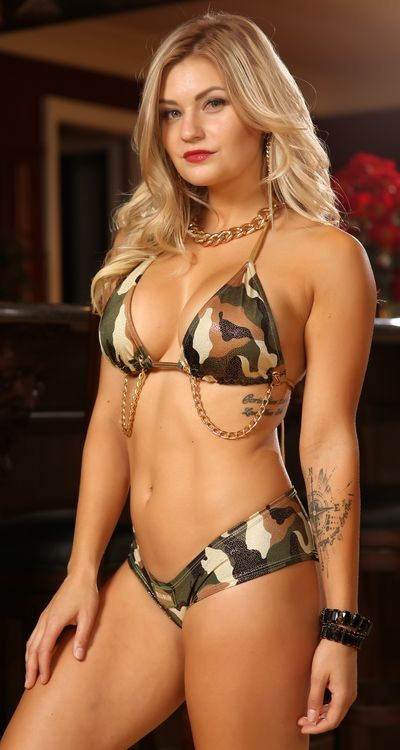 Fancy Camo Bootie with Chain Detail Bikini Halter Top