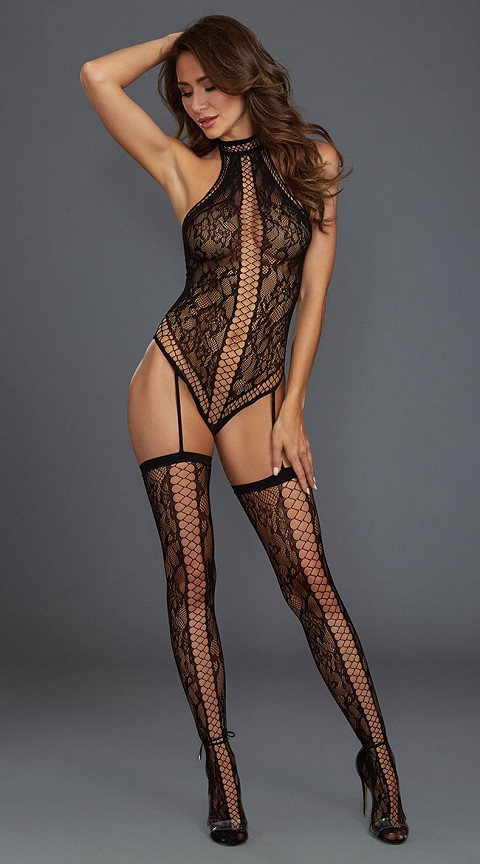 Black Lace Halter Neckline Teddy Bodystocking with Attached Garters and Thigh Highs