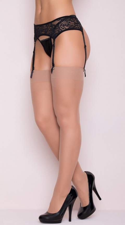 Plus Size Nude Sheer Solid Top Thigh Highs with Back Seam