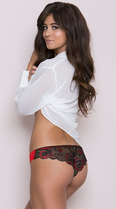 Red and Black Cheeky Panty with Cross-Dye Lace Back and Satin Bow