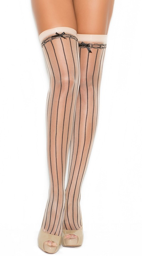 Nude and Black Pin Striped Thigh High with Satin Bow