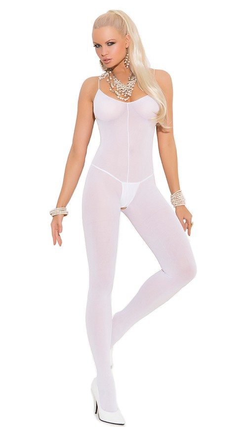 White Opaque Bodystocking with Spaghetti Straps and Open Crotch