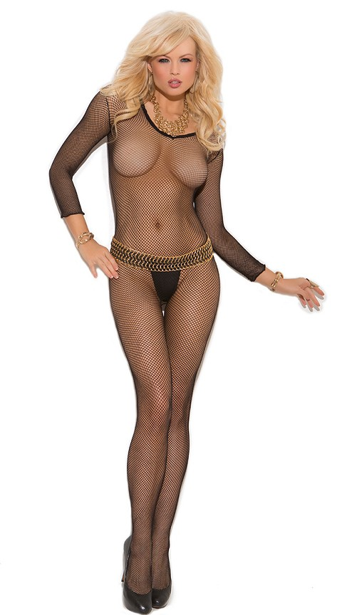 Black Fishnet Long Sleeve Bodystockings with Open Crotch