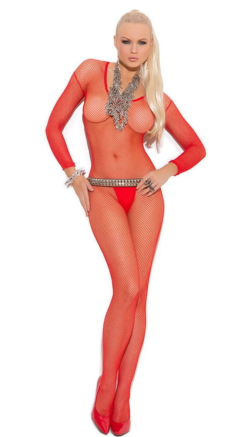Red Fishnet Long Sleeve Bodystockings with Open Crotch