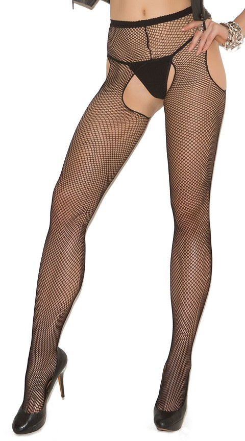 Plus Size Black Fishnet Suspender Pantyhose