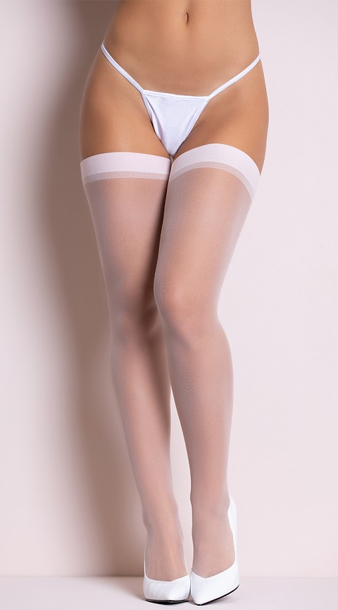 Plus Size White Sheer Thigh Highs
