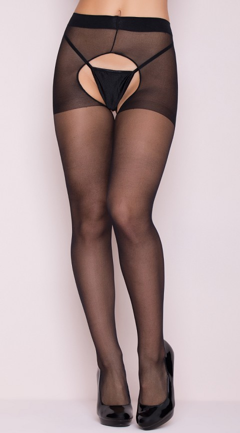Black Sheer Crotchless Pantyhose
