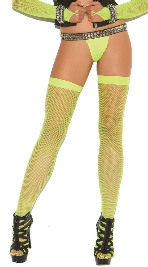Neon Nites Neon Green Fishnet Thigh Highs