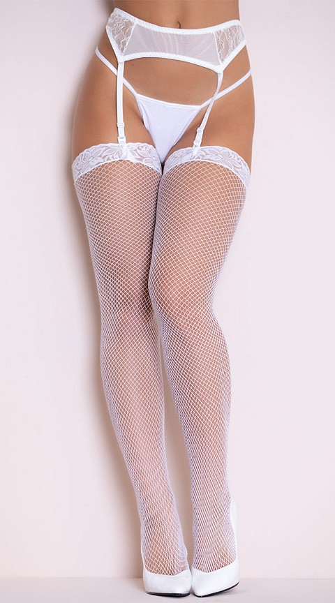 White  Fishnet Stocking with Lace Top