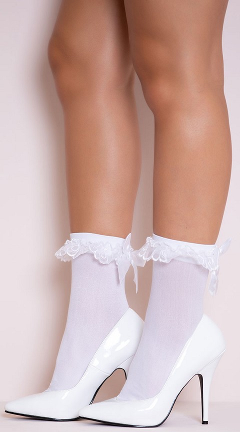 White Nylon Anklet with Ruffle and Satin Bow