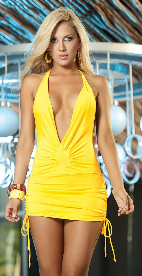 Yellow Low Cut Cinched Mini Dress
