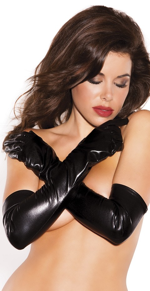 Kitten Wet Look Sexy Seduction Gloves
