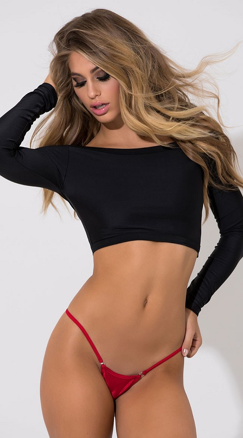 Red Premium Front Snap Clip Lined V Back Thongs