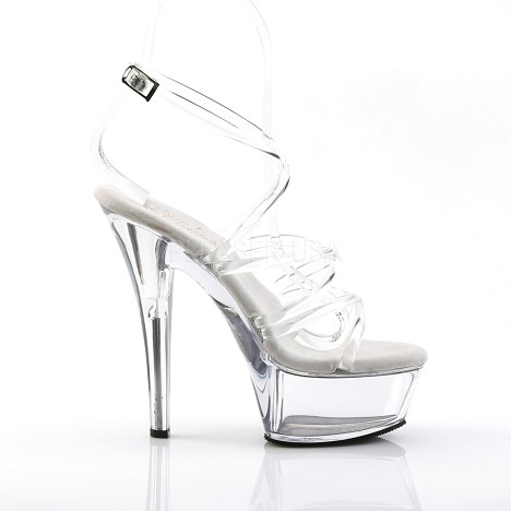 6 Inch Clear Wrap Shoe Spike Heel Pleaser Kiss-206