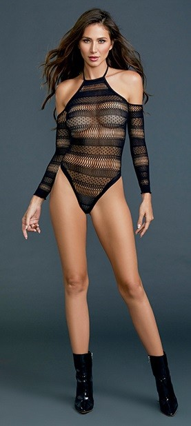 Black Seamless Bodysuit with Stripe Detail and Thong Back